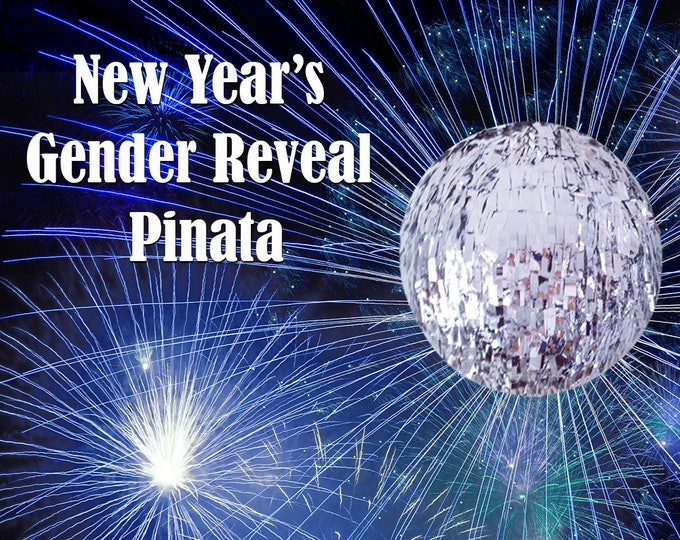 New Year's Eve Gender Reveal Piñata, New Years Eve Piñata, New Years Gender Reveal Ideas, Custom Gender Reveal Pinata, New Years Eve Party