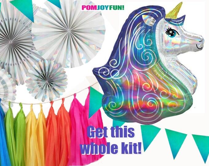 Unicorn Party Decorations Kit, Rosettes, Fans, Tassel garland, Iridescent Unicorn Balloon, Pennant, Rainbow Tassel Garland, Holographic Fans