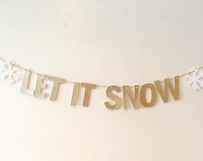 Let It Snow Sign, Let It Snow Banner, White Christmas Banner decor ideas, Snowflake holiday Sign, Cruise door decor Joyeux Noel, White