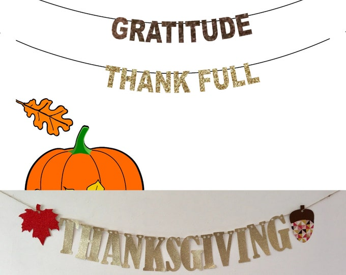 Thanksgiving Banner, Ready to Ship Gold Thanksgiving Decor, Gratitude Banner, Thank Full Banner, Thankful AF Banner, Thank full Banner