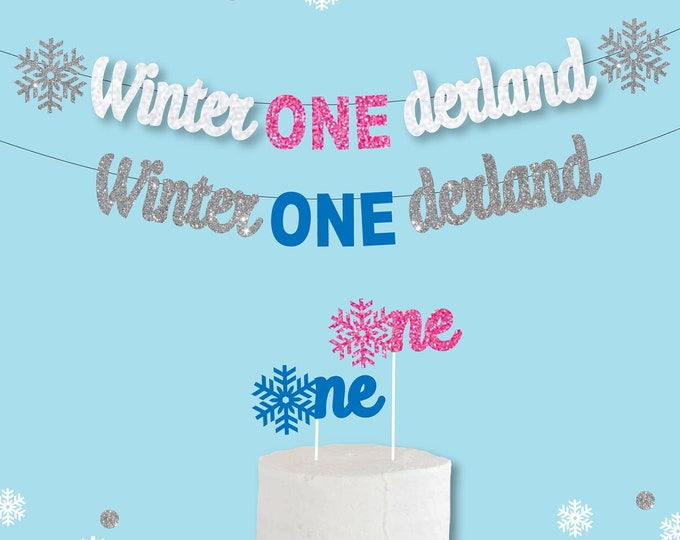 Winter Onederland Party Banner, Decorations and  Cake Topper for Girl & Boy Wonderland, First Birthday Party Ideas, Winter Theme Birthday
