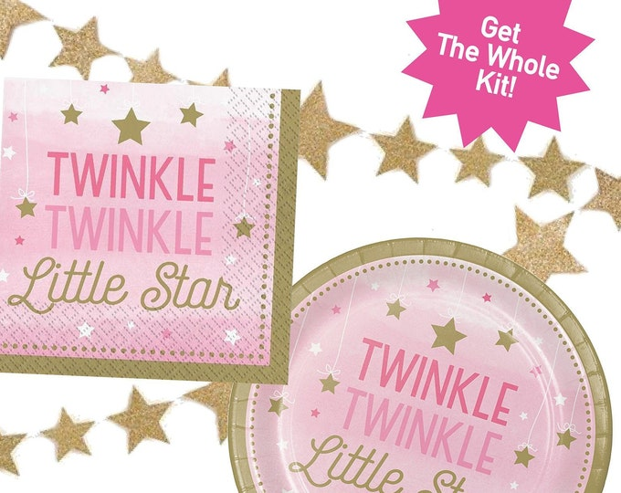 Twinkle Twinkle Little Star Party Kit, Plates, Napkins, Star Banner, Girl Party, Baby Shower Decor, First Birthday Party, Gender Reveal