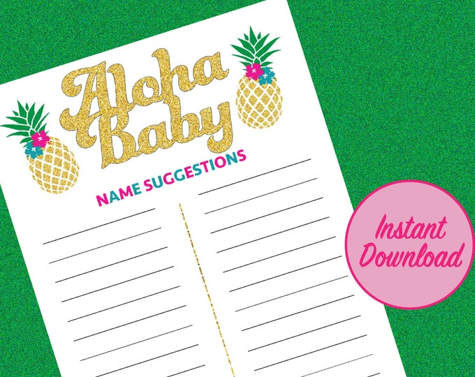 Aloha Baby Name Game, Tropical Hawaii Pineapple Baby Shower Game, Baby Name Game Gender Reveal Party Game Ideas Girl Boy, Hawaiian theme