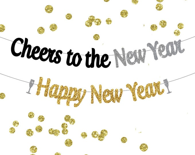 Cheers to the New Year Banner, Happy New Year Banner, Cheers Banner, Cheers to 2018, Kiss me at midnight banner, New Years Eve Party Decor
