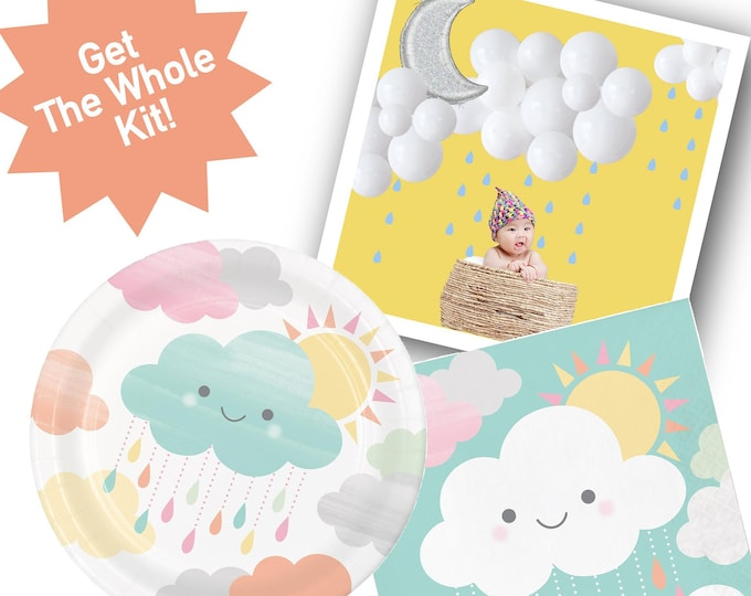 Rain Cloud Baby Shower Party Decorations, Kit: Plates, Napkins, Cloud Balloon, Gender Neutral Theme, Rain shower, Girl or Boy baby shower
