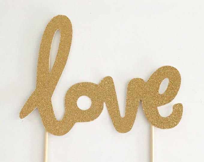 Love Script Cake Topper, Love Balloon Topper, Gold LOVE cake topper | Engagement cake topper | Party Picks | Wedding Cake Topper
