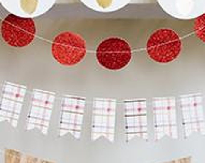 Christmas Banner, Plaid 8 foot Banner, Gold Foil Accent Garland, Holiday Garland HYP103, Plaid Banner, Christmas Decor sale