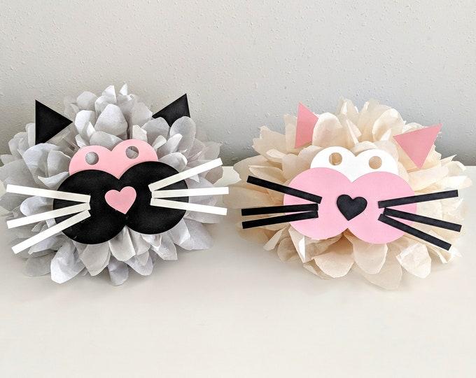 Cat Poms, Kitty Poms, Kitty Birthday Party, Cat Party Supplies, Farm Animals pom, Hello Kitty Party , Cat centerpiece, Cats
