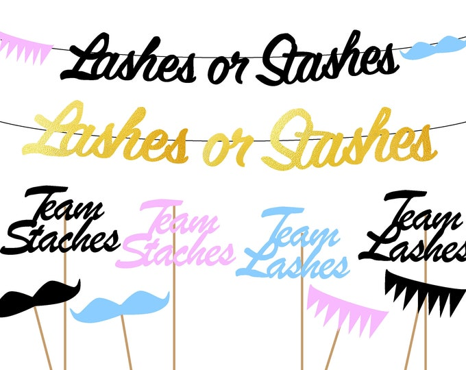 Lashes or Staches Gender Reveal Banner, Staches Sign, Decorations, Party Supplies, Cup Cake Toppers, Photo Booth Prop, Piñata Reveal Ideas