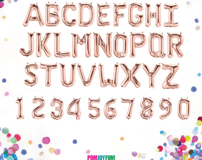 Rose Gold Balloon Letters and Numbers. Custom Word, Name, or Phrase Banner for Birthdays, Graduations, and Party Decor 14""