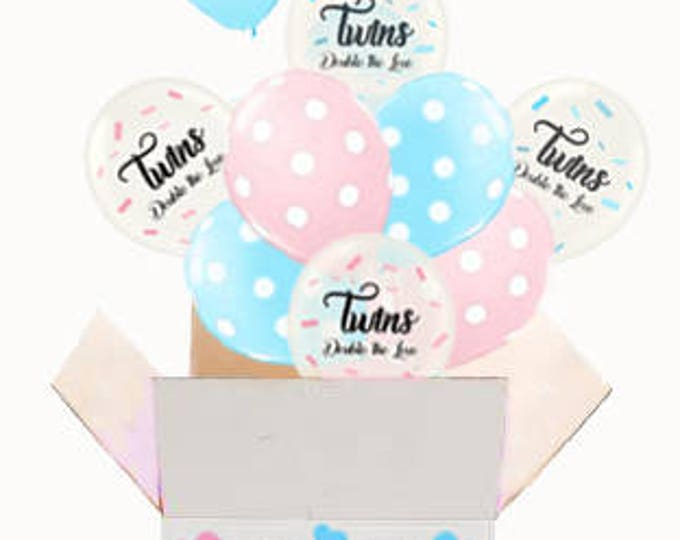 Twins Gender Reveal ideas, Balloon in a Box Gender Reveal, Twins Announcement, Twins Gender Reveal Balloon Release, Twins Reveal Decorations