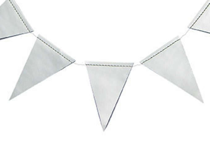 Silver Pennant Garland for a Birthday Party, Baby Shower or Wedding, Christmas and New Years Holiday Decor a Foil Triangle Banners Ideas