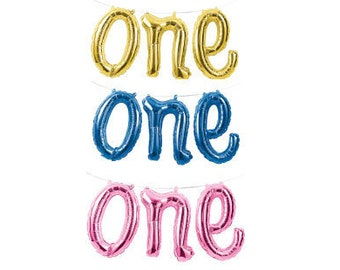 "ONE script balloon or Rose Gold One 16"" or ONE spelled out, First Birthday Balloon, Blue one balloon, Number 1 balloon, Pink One Balloon"