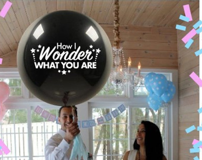 """Twinkle Twinkle Little Star How I Wonder What You Are Giant 36"""" Gender Reveal Balloon with Tassel and Confetti pregnancy announcement Ideas"""