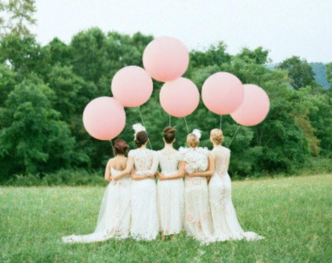 "6 Pack 36"" Pastel Pink Balloons, HUGE Latex Balloons, Light Pink Round Giant Balloons, Pastel Pink, Light Pink, Giant Balloons"