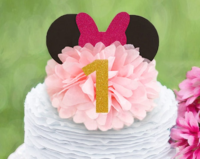 Minnie Mouse First Birthday Decoration, Disney Theme  Cake Topper, Minnie Mouse Centerpiece, Minnie Mouse First Birthday Centerpieces