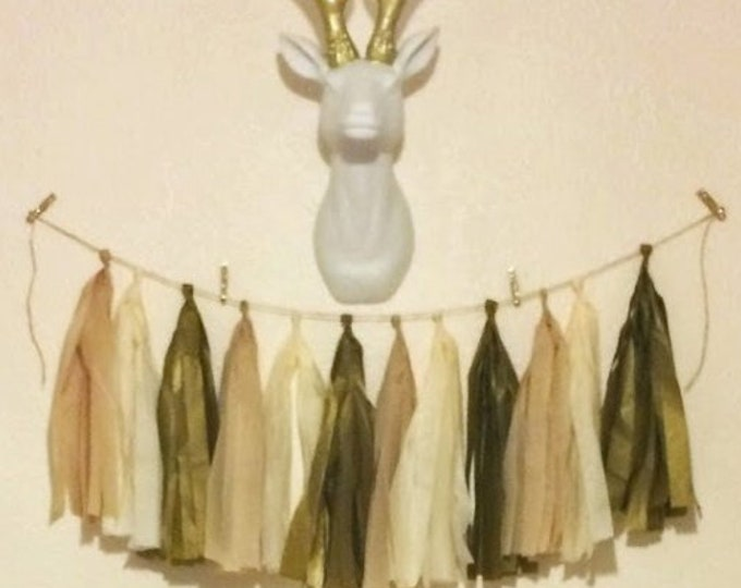 Tissue tassel garland in blush, ivory, and antique gold,  Blush Birthday Decor, Gold Wedding and Baby shower Gender Neutral Garland