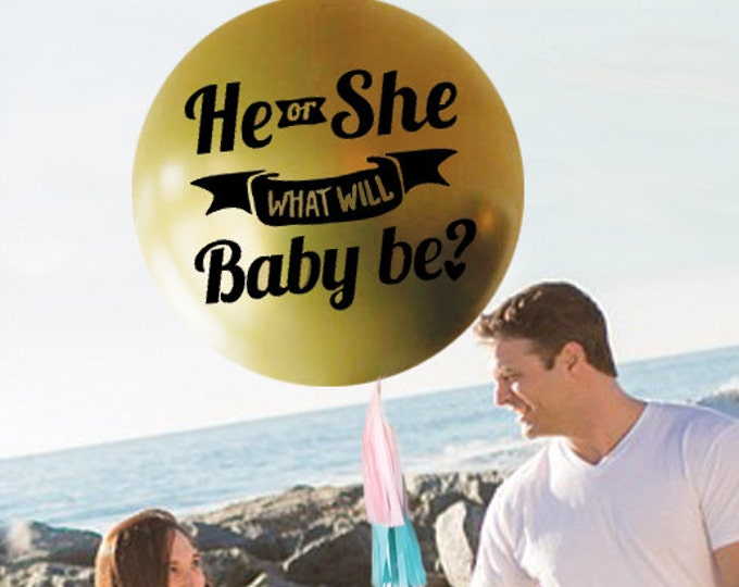 He or She What Will It Be? Bee themed Gender Reveal Balloon 36 inch Jumbo Big Confetti Filled  Balloon, Gender Reveal Party Ideas