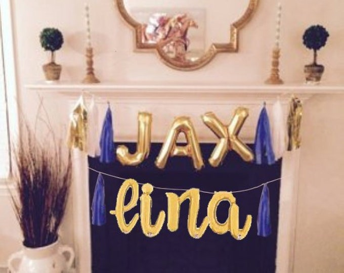 Custom Name Balloons, Script Balloon Banners, Personalized Balloons, Name Balloon with Tassels, Custom Letter Balloon