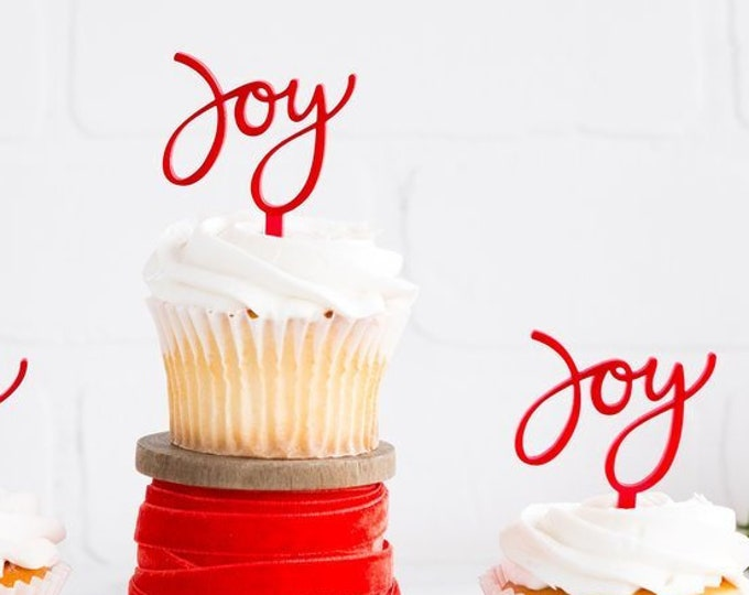 Joy Cupcake Topper, Joy Christmas Holiday Cupcake Topper, Joy to the World Oh What Fun Christmas Decor Party Supplies, Thankful