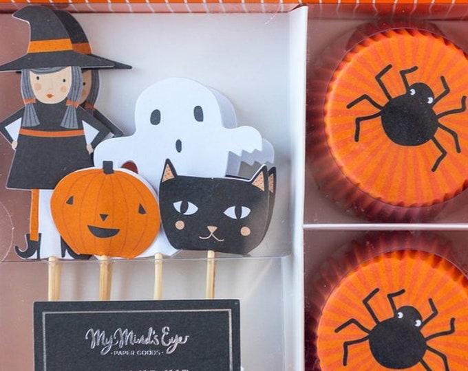 Halloween Cupcake Toppers, Halloween Cupcake Wrappers, Halloween Cupcake Picks, Halloween Cupcake Toppers ghost, Halloween Toppers Cat, 24