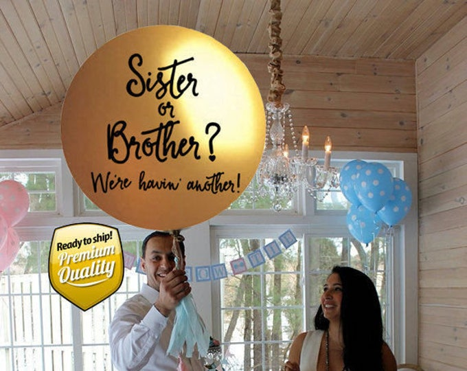 Sister or Brother Gender Reveal Balloon w/ tassels, Sibling Gender Reveal Balloon in Gold, Sister or Brother Gender Reveal Party Ideas
