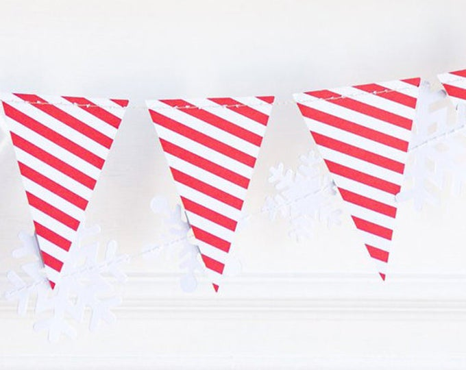 Red and White Pennant Banner, Red Striped Pennant Garland, Triangle Banner, Red Banner, Christmas Banner, Red Decor, Carnival Banner