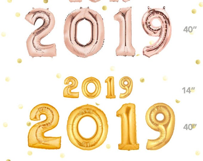 "2019 Balloons, New Years Eve balloons, New Years Decoration Ideas, Gold, Silver or Rose Gold, 40"" Balloons or 14"" Number Balloons, Jumbo"