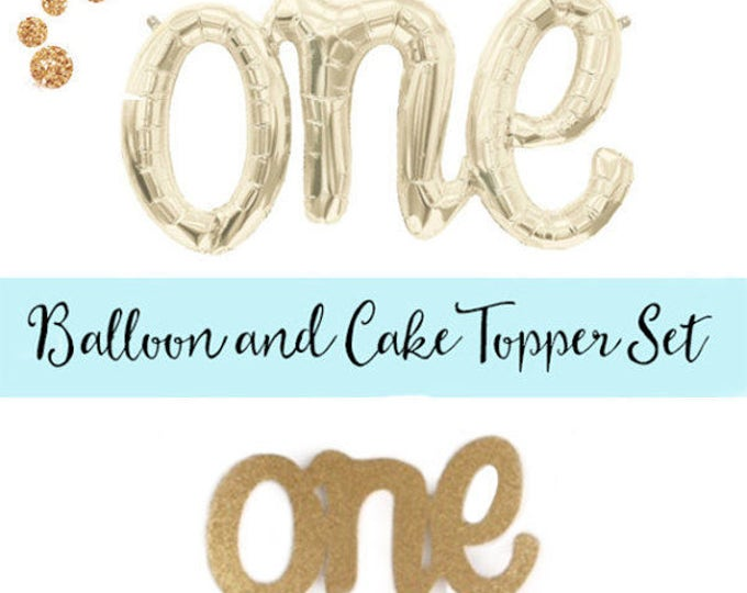 Script Cake Topper and Script One Balloon Set, First Birthday Decoration Ideas, Number One Balloon and Number One Cake Topper Gold, Pink