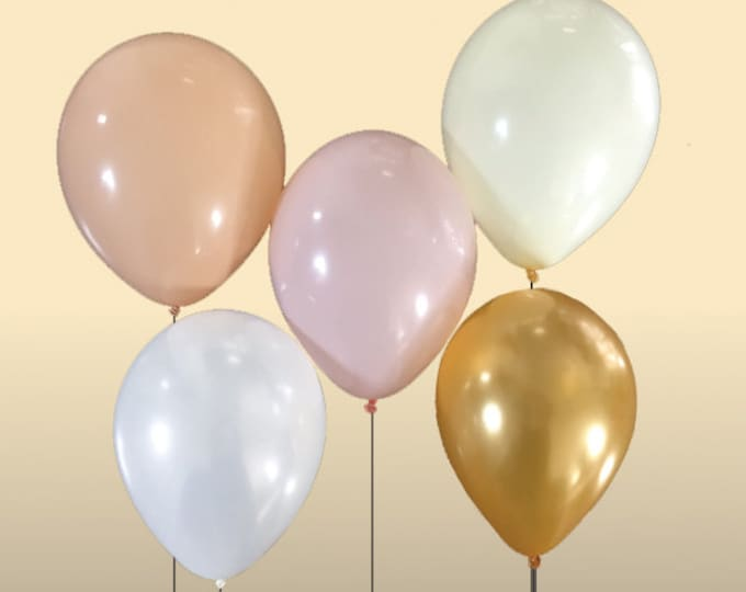 Pink, Blush, Gold, Ivory and/or White Balloon Sets - 10+ Balloons Pick Your Colors, Blush and Gold Party Decor, Gold and Ivory Wedding Decor
