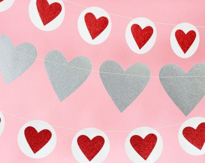 Heart Banner, Valentines Day Decor, 2 Banners Included, Heart Decor, Valentines Heart, Love Banner, Double-Sided Banner, VAL506