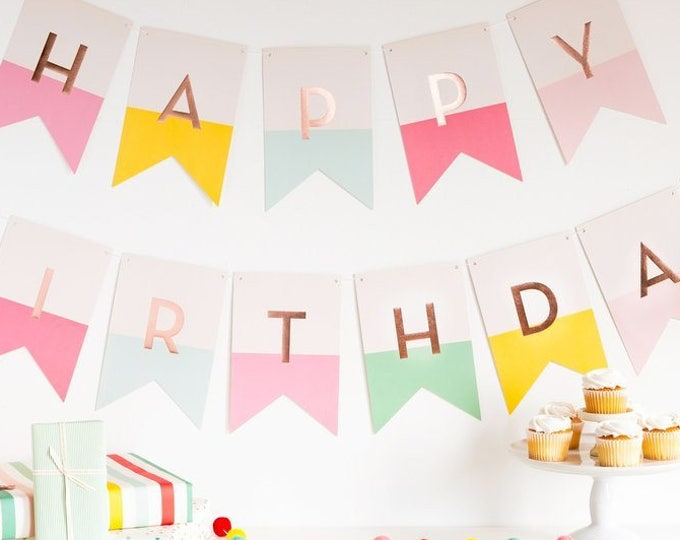 Happy Birthday decorations Banner Decor  rose gold backdrop pastel first birthday  pink, pink, yellow, light blue, and mint