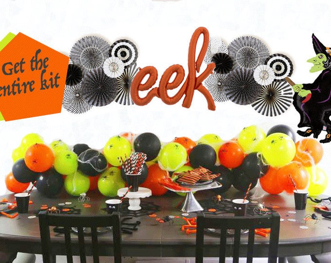 Halloween Balloon Garland, garland banner party decoration, black rosettes, Eek Balloon, Balloon Backdrop, Halloween Balloons, Balloon DIY