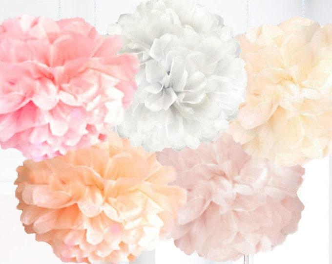 Blush Tissue Paper Pom Pom, Pink Pom Poms, Pink party decorations, Light Pink White Ivory Peach Blush Pom Poms, Pastel Party Decor, Peach