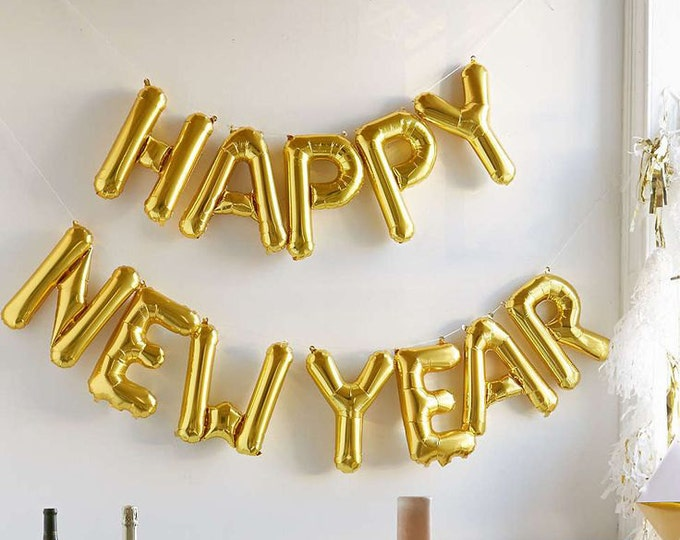 Happy New Year Balloon, New Years Eve Decorations, New Years Eve banner, 2017 Balloons, Happy New Year Balloons