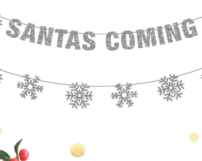 Santa's Coming Banner, Christmas Banner, Santa Banner, Christmas Decor, Christmas Banners, Santa Holiday Decor