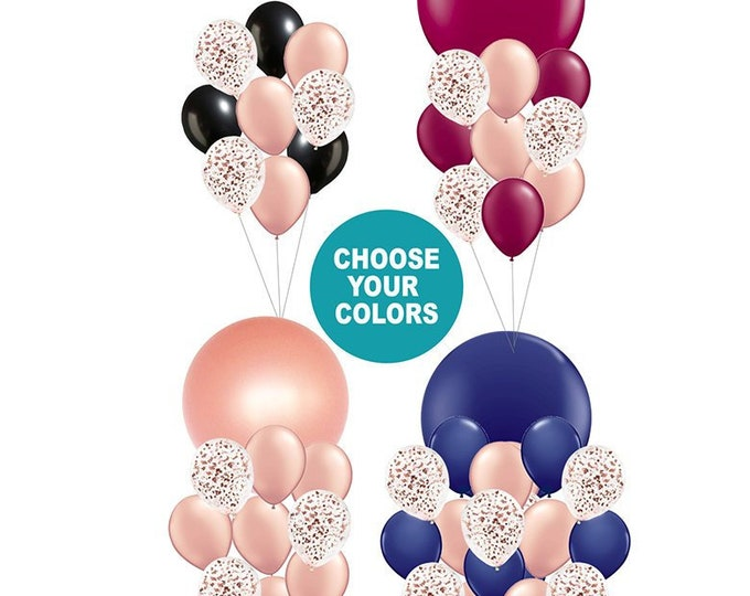 Rose Gold Balloon Bouquet Party Decor with All Rose Gold, Navy, Burgundy, or Black Party Decorations for Wedding, New Years, or Birthday