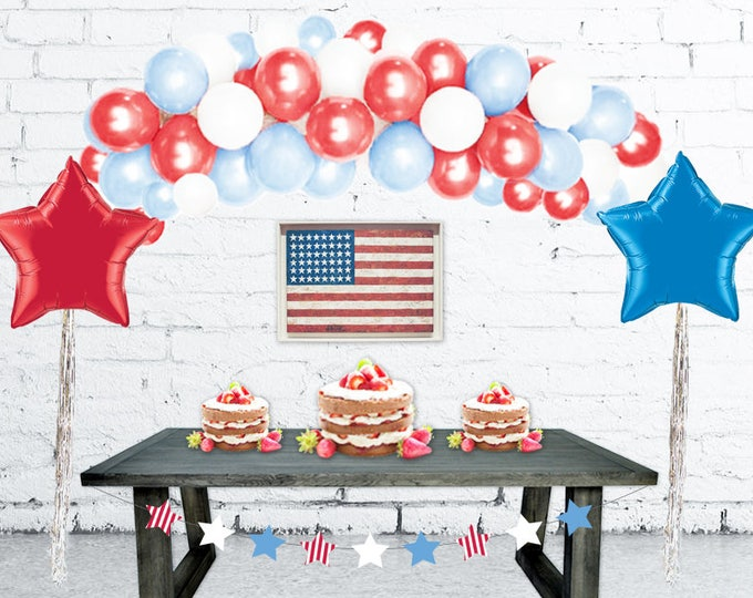 Balloon Arch Kit 4th of July Decorations Balloon Arch, Balloon Garland, DIY Balloon Garland Kit, Patriotic Decor, Fourth of July Decorations