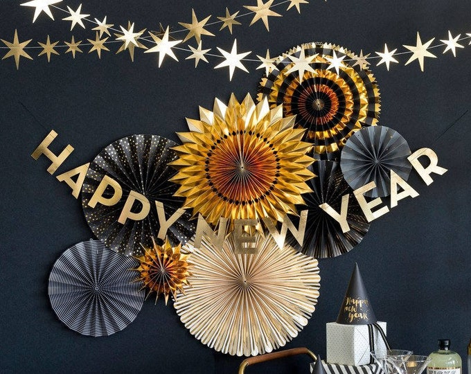 Happy New Years Eve Fans and Banner Decorations for a Party, 2019 - NYE Decor, Black and Gold Foil Rosettes, Backdrop Ideas
