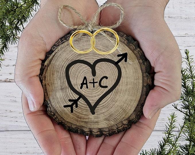 RUSTIC Ring Bearer Pillow Wood Slice, a Wedding Ring Holder - Ring Bearer Pillow Alternative -Custom Personalized wedding- Proposal Idea