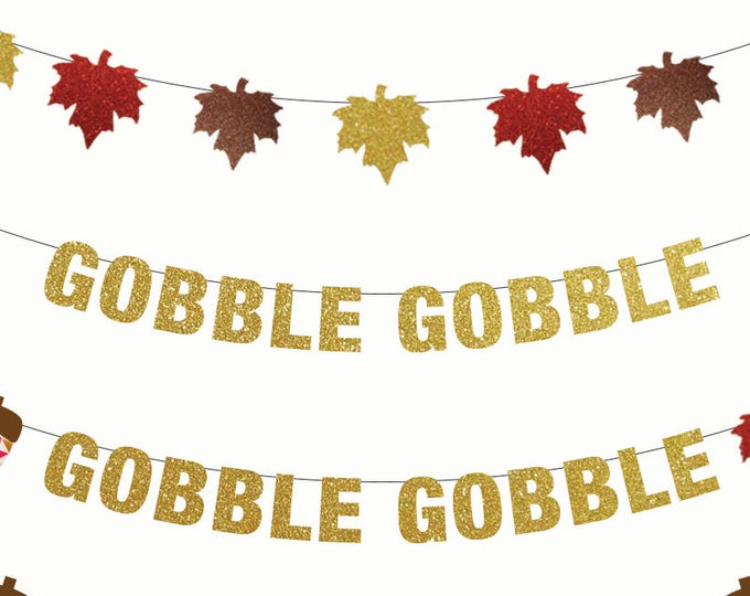 Gobble Gobble Banner, Thanksgiving Banner, Thanksgiving Decorations, Banner, Turkey Day, Friendsgiving Banner