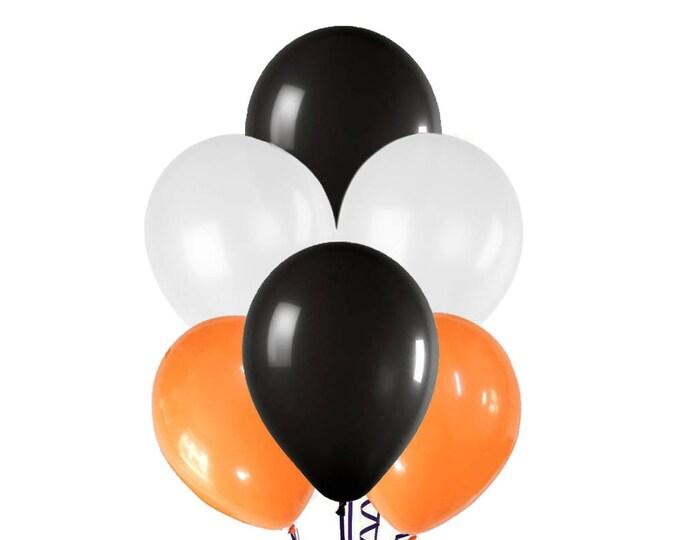 """Halloween Balloon Spray, Orange Black and White Balloons, 12"""" Halloween Balloon, Halloween Party Decor, Halloween Party Decorations"""