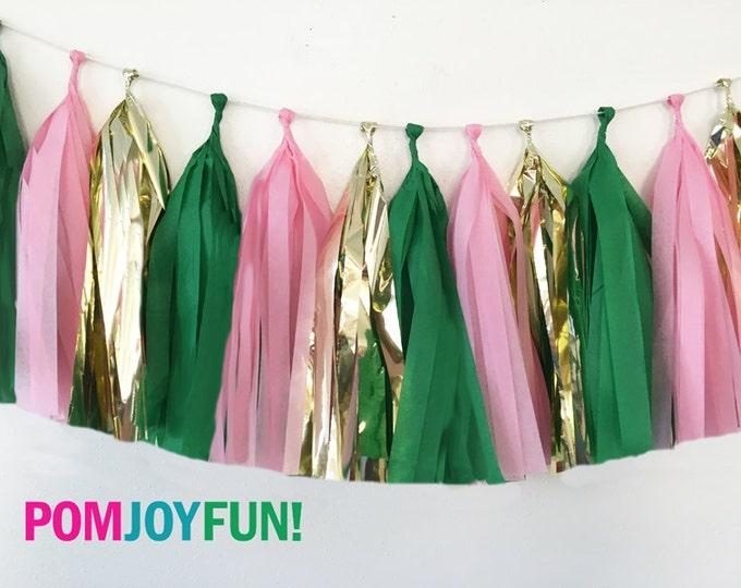 Flamingo tassel garland , Pink, metallic gold, and green tissue tassel garland , Tissue garland , Pink Flamingos
