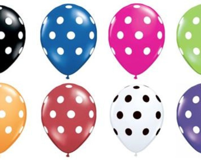 Polka Dot Balloons, 10 PACK, 11 Inch Balloons by Qualatex, Choose your colors Baby Shower, Birthday Party balloons, balloons Fast Shipping