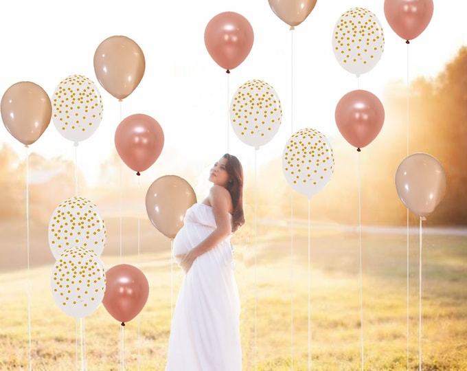 Rose Gold Balloon Bouquet, Birthday, Wedding, Shower Decorations, Pick Your Colors, Blush and Gold Rose Gold Balloons