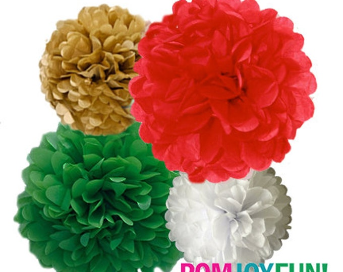 Italian Party decorations, Italian Poms, Red, Green, White Tissue Paper Pom Poms, 4 Piece Set, Red and Green Party Decor