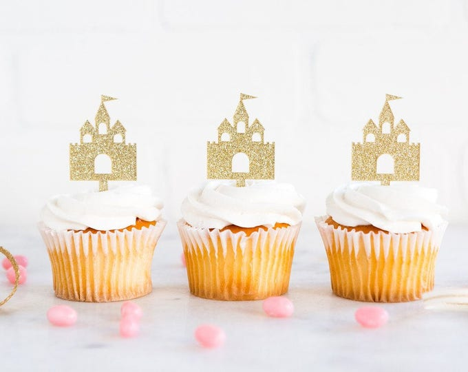 Castle Cupcake Topper, Princess Party Decor, First Birthday Gold and Pink, Birthday Decoration, Disney Princess Party Theme Decor Supplies
