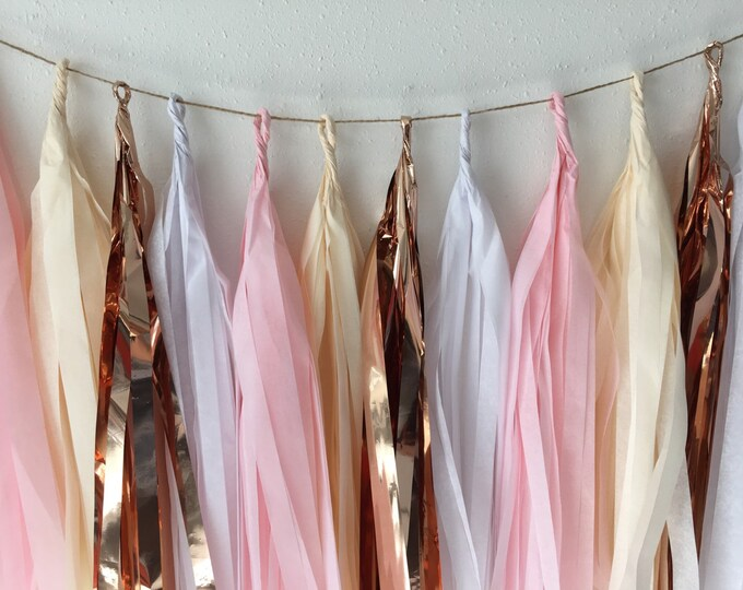 Garland tassel in rose gold, light pink, ivory, and white | Tissue paper tassel for birthdays, weddings, baby showers, or any party decor