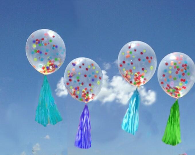 Confetti Balloon with Tassel, Confetti Balloon Blue, Confetti Balloons Baby Shower , Confetti Balloons Pastel, Custom Colors, Bachelorette