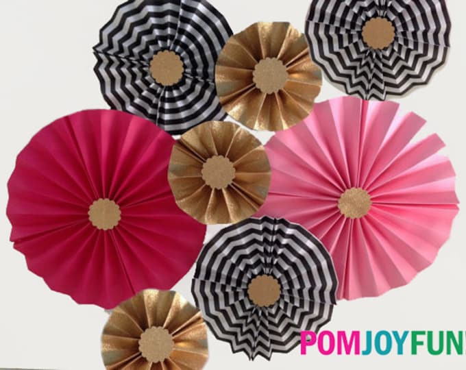 Rosettes in Pink, Hot Pink, Glittery Gold, and Black, Kate Spade decor, Rosettes or Paper Medallion, Party Backdrops, Kate Spade ba